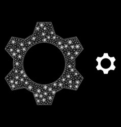 Cog - bright web network with light spots vector