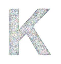 Colorful sketch font design - letter K vector image