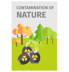 Contamination of nature in forest with chemicals vector