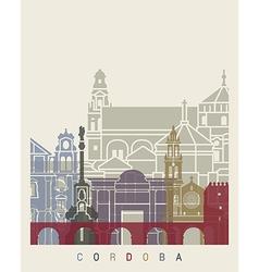 Cordoba skyline poster vector