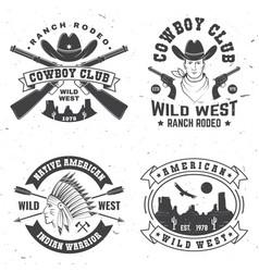 cowboy club badge ranch rodeo concept vector image