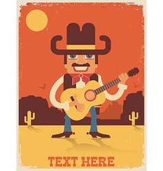 Cowboy playing guitar country music vector