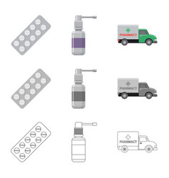 design of pharmacy and hospital symbol set vector image