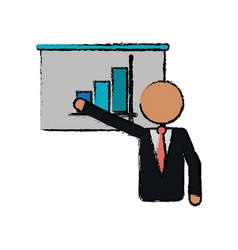 Drawing businessman presentation graph statistics vector
