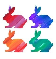 Easter color bunny set acrylic vector