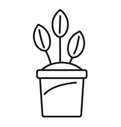 eco plant pot icon outline style vector image