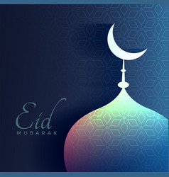 Eid mubarak greeting with shiny mosque and moon vector
