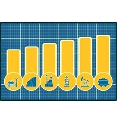 Energy and Power icons set on chart diagram vector image