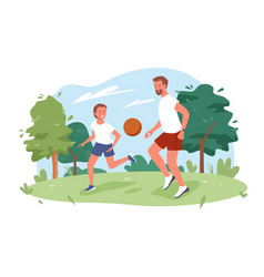 family people play ball in city nature summer park vector image