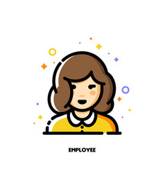 female user avatar of employee icon of cute girl vector image