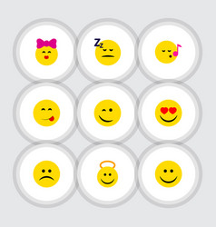 flat icon emoji set of sad winking descant and vector image