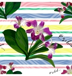 Floral seamless pattern with beautiful orchid vector image
