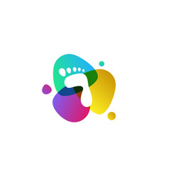 Foot logo design abstract colorful sign vector