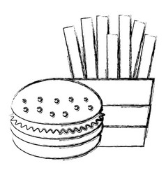 french fries with burger vector image