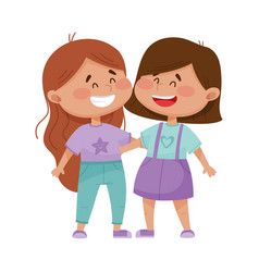 Friendly little girls embracing each other vector