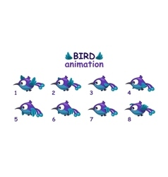 Funny blue cartoon bird flying sprites vector
