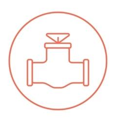 Gas pipe valve line icon vector