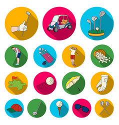 golf and attributes flat icons in set collection vector image