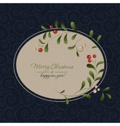 Green sprig with red berries frame vector image
