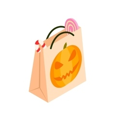 Halloween paper bag isometric 3d icon vector image