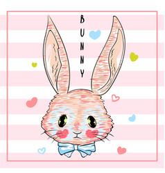 Hand drawn cute bunny print design rabbit vector