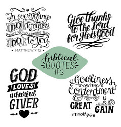 hand lettering collection number 3 with 4 bible vector image