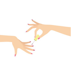 hands doing manicure vector image