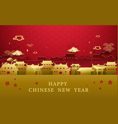 happy chinese new year greetings gold and red vector image