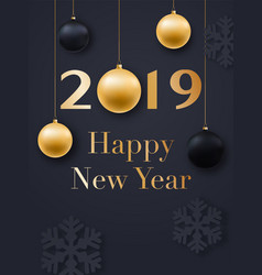 Happy new year 2019 card design realistic vector