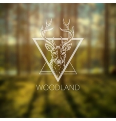 Hipster logo with deer vector