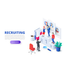 hiring and recruitment design concept with vector image