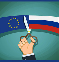 human hand with scissors cuts the flag of russian vector image