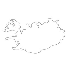 iceland - solid black outline border map of vector image