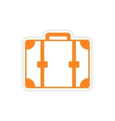 Icon sticker realistic design on paper suitcase vector
