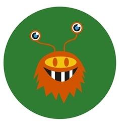 Isolated cute cartoon alien monster on a green vector