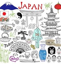 japan doodles elements hand drawn set vector image