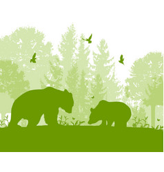 landscape with two bears vector image