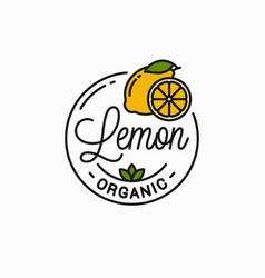 lemon fruit logo round linear lemon slice vector image