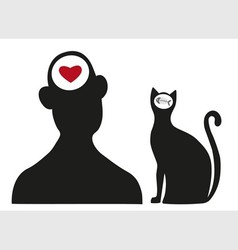 Man and cat vector
