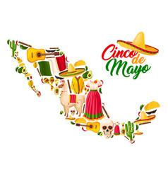 mexican map with cinco de mayo holiday symbols vector image