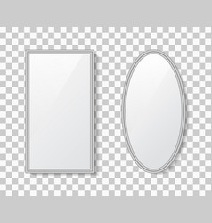Mirror with frame surface glass vector