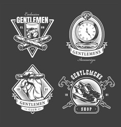 monochrome gentleman club labels vector image