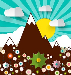 Mountains with Flowers Retro Flat Design vector