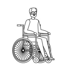 Old man in wheelchair vector
