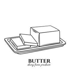Outline butter icon vector