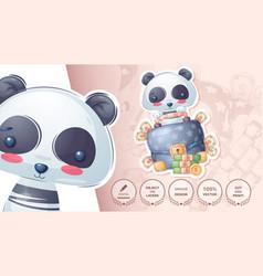 Panda with diplomat - cute sticker vector