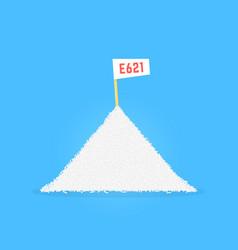 Pile of sodium glutamate like e 621 vector
