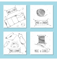 Printable cards for sites in retro style vector