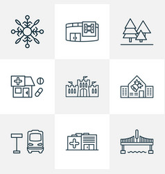 public skyline icons line style set with forest vector image