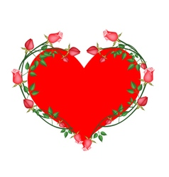 Red Roses Flowers in A Heart Shape vector image